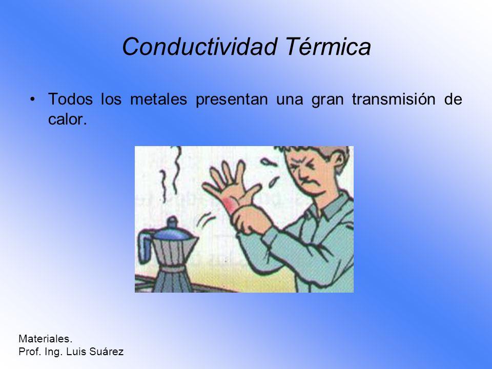 Conductividad Térmica Todos los metales presentan una gran transmisión de calor. Materiales. Prof. Ing. Luis Suárez