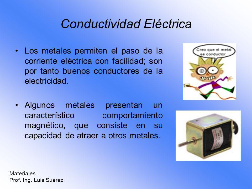 Conductividad Eléctrica Los metales permiten el paso de la corriente eléctrica con facilidad; son por tanto buenos conductores de la electricidad. Alg