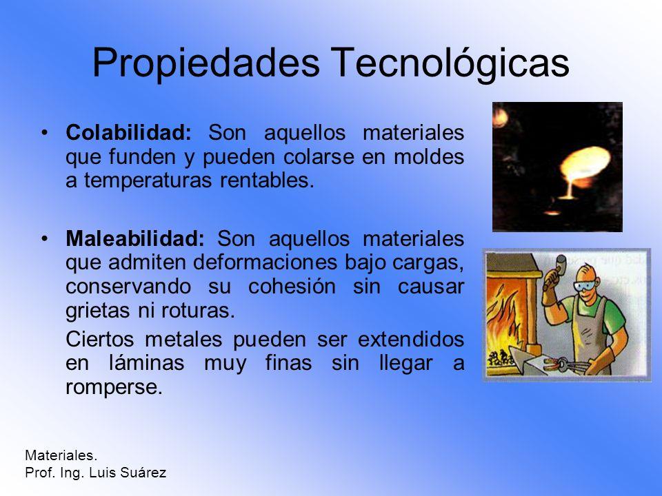 Propiedades Tecnológicas Colabilidad: Son aquellos materiales que funden y pueden colarse en moldes a temperaturas rentables. Maleabilidad: Son aquell