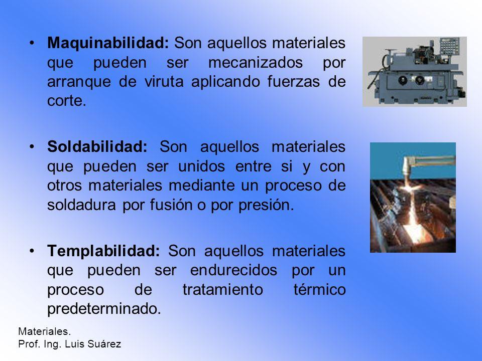 Maquinabilidad: Son aquellos materiales que pueden ser mecanizados por arranque de viruta aplicando fuerzas de corte. Soldabilidad: Son aquellos mater