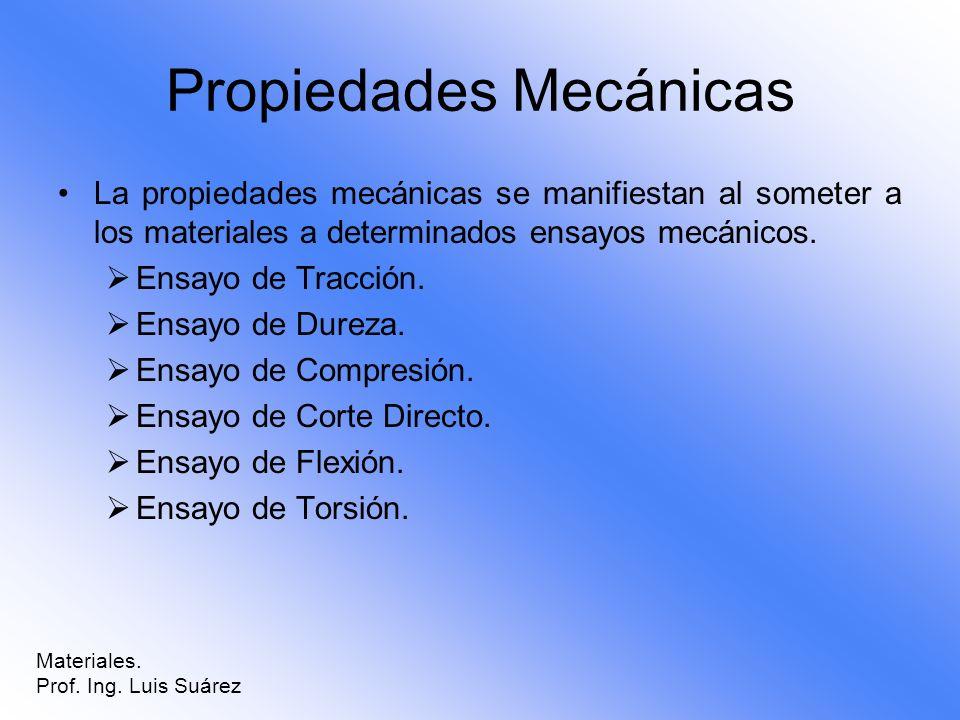 Propiedades Mecánicas La propiedades mecánicas se manifiestan al someter a los materiales a determinados ensayos mecánicos. Ensayo de Tracción. Ensayo