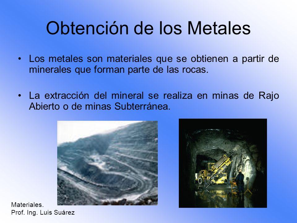 Obtención de los Metales Los metales son materiales que se obtienen a partir de minerales que forman parte de las rocas. La extracción del mineral se
