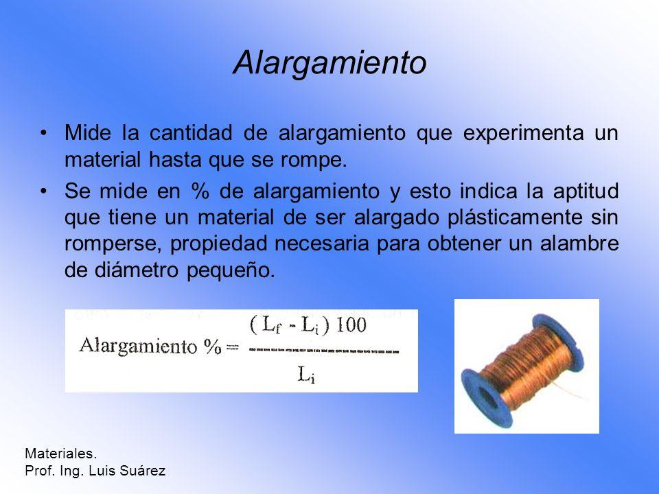 Alargamiento Mide la cantidad de alargamiento que experimenta un material hasta que se rompe. Se mide en % de alargamiento y esto indica la aptitud qu