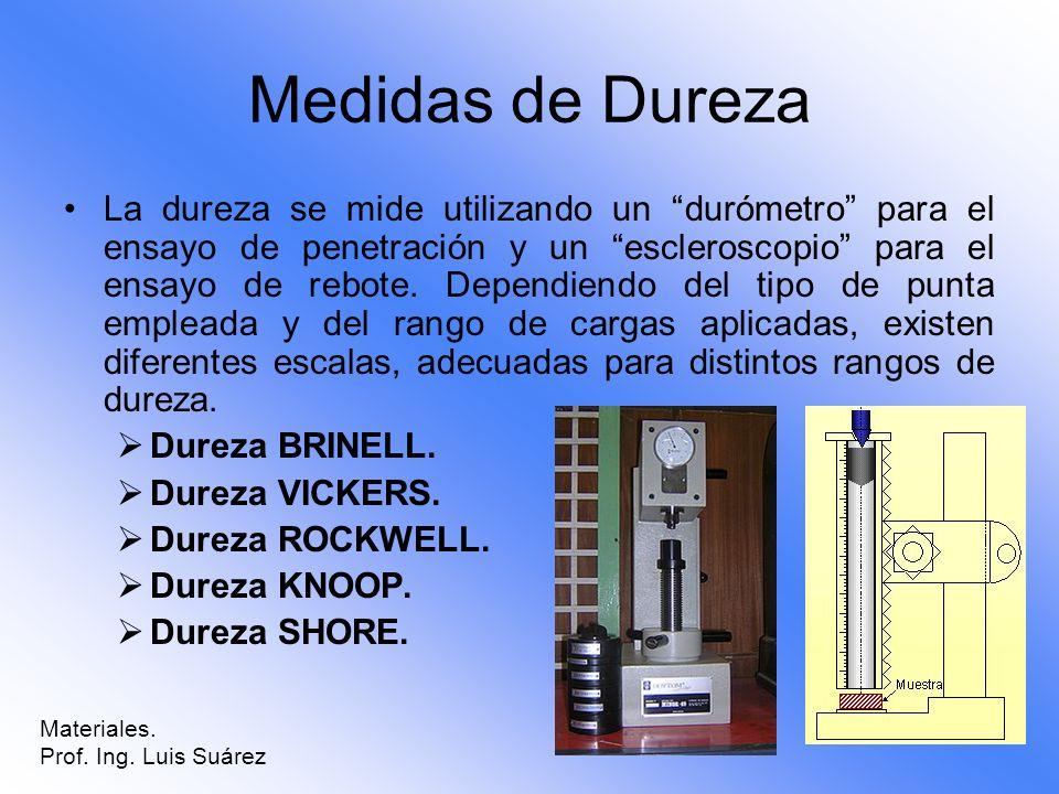 Medidas de Dureza La dureza se mide utilizando un durómetro para el ensayo de penetración y un escleroscopio para el ensayo de rebote. Dependiendo del