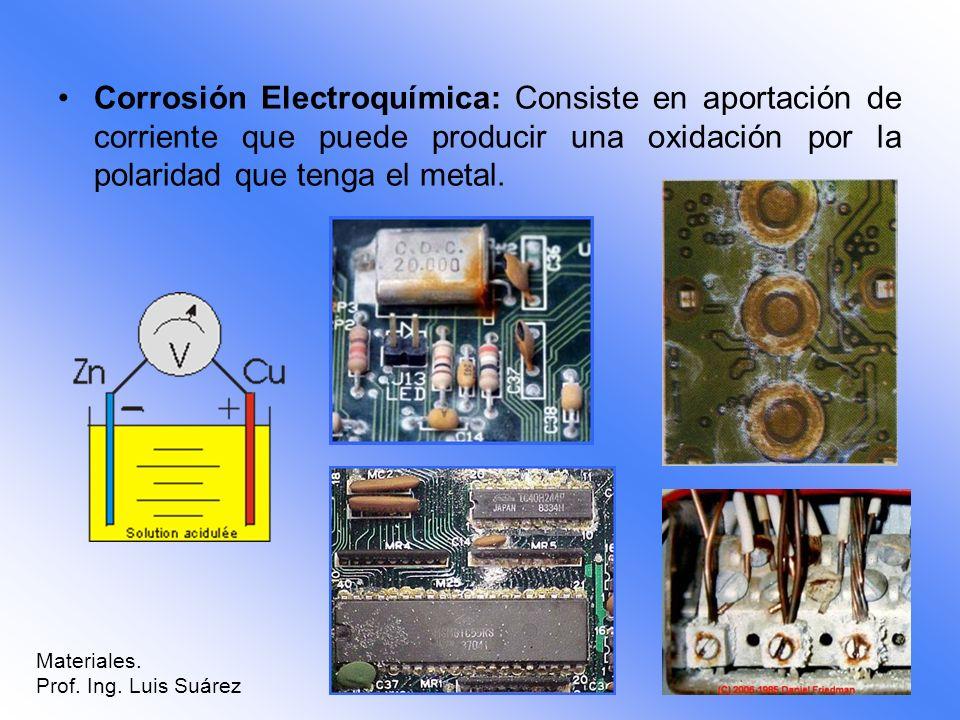Corrosión Electroquímica: Consiste en aportación de corriente que puede producir una oxidación por la polaridad que tenga el metal. Materiales. Prof.