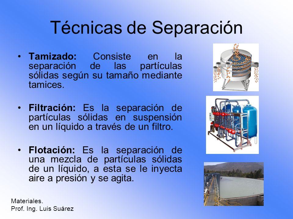 Técnicas de Separación Tamizado: Consiste en la separación de las partículas sólidas según su tamaño mediante tamices. Filtración: Es la separación de
