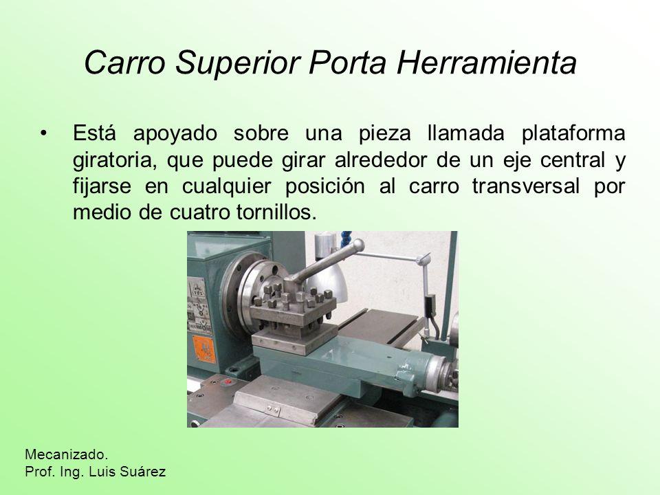 Carro Superior Porta Herramienta Está apoyado sobre una pieza llamada plataforma giratoria, que puede girar alrededor de un eje central y fijarse en c