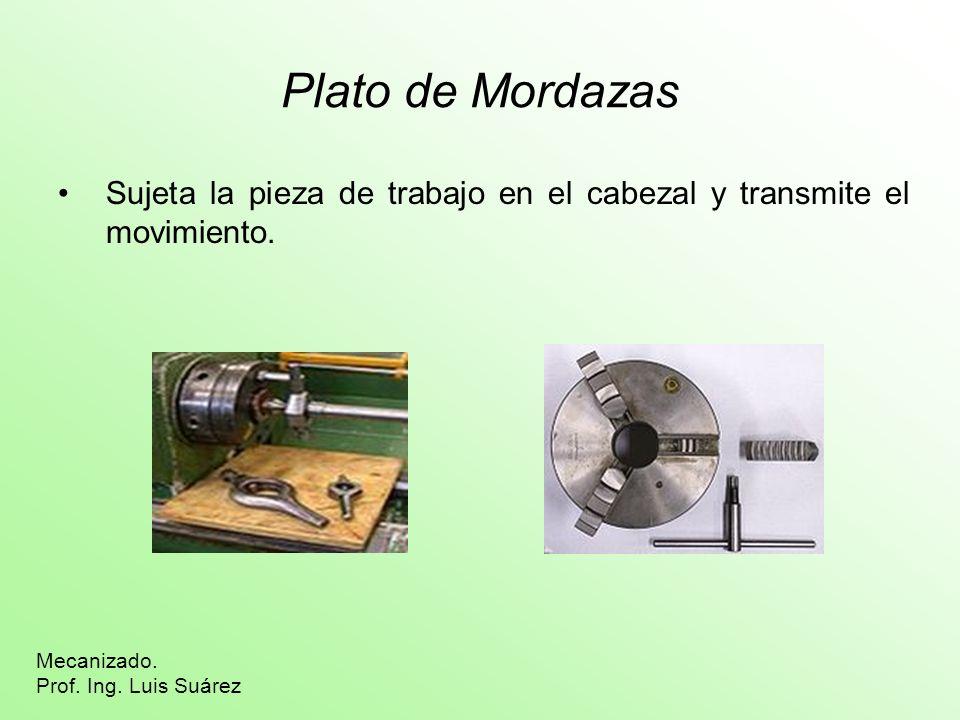 Plato de Mordazas Sujeta la pieza de trabajo en el cabezal y transmite el movimiento. Mecanizado. Prof. Ing. Luis Suárez