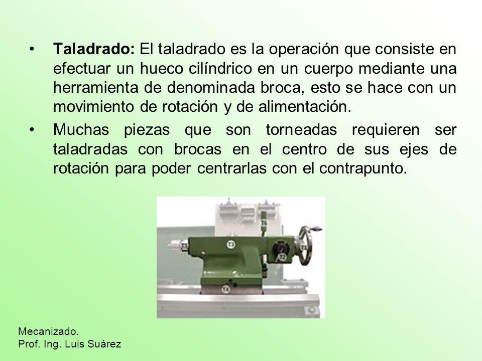 Taladrado: El taladrado es la operación que consiste en efectuar un hueco cilíndrico en un cuerpo mediante una herramienta de denominada broca, esto s