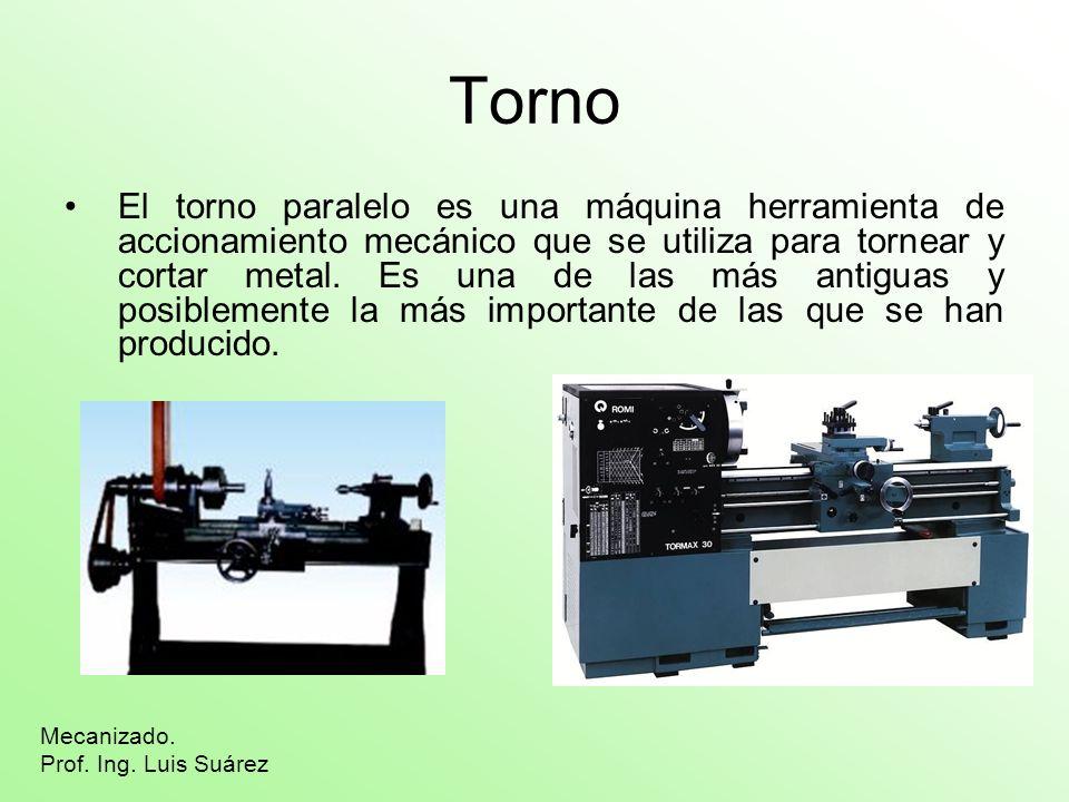 Torno El torno paralelo es una máquina herramienta de accionamiento mecánico que se utiliza para tornear y cortar metal. Es una de las más antiguas y