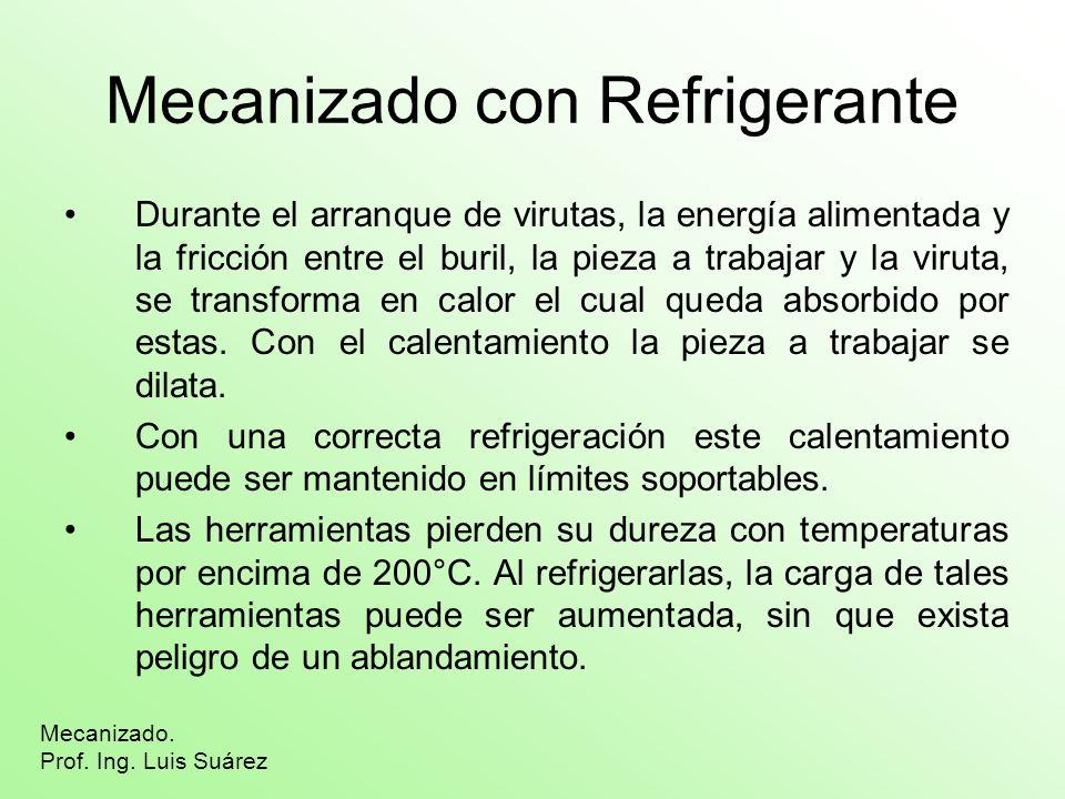 Mecanizado con Refrigerante Durante el arranque de virutas, la energía alimentada y la fricción entre el buril, la pieza a trabajar y la viruta, se tr