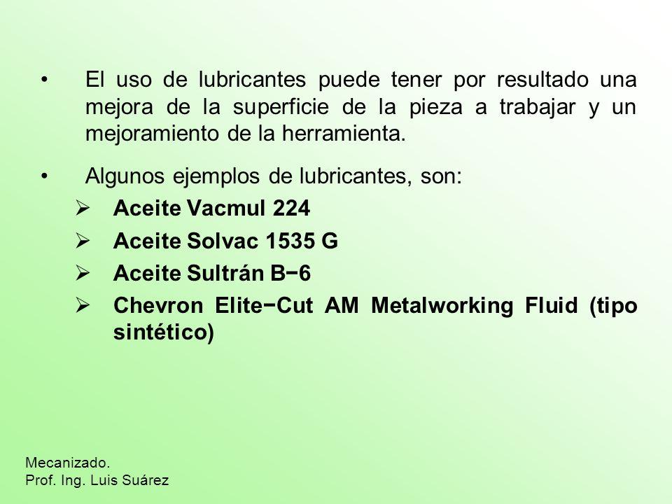 El uso de lubricantes puede tener por resultado una mejora de la superficie de la pieza a trabajar y un mejoramiento de la herramienta. Algunos ejempl