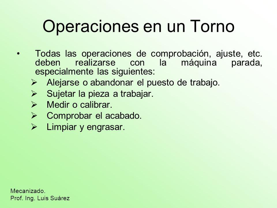 Operaciones en un Torno Todas las operaciones de comprobación, ajuste, etc. deben realizarse con la máquina parada, especialmente las siguientes: Alej