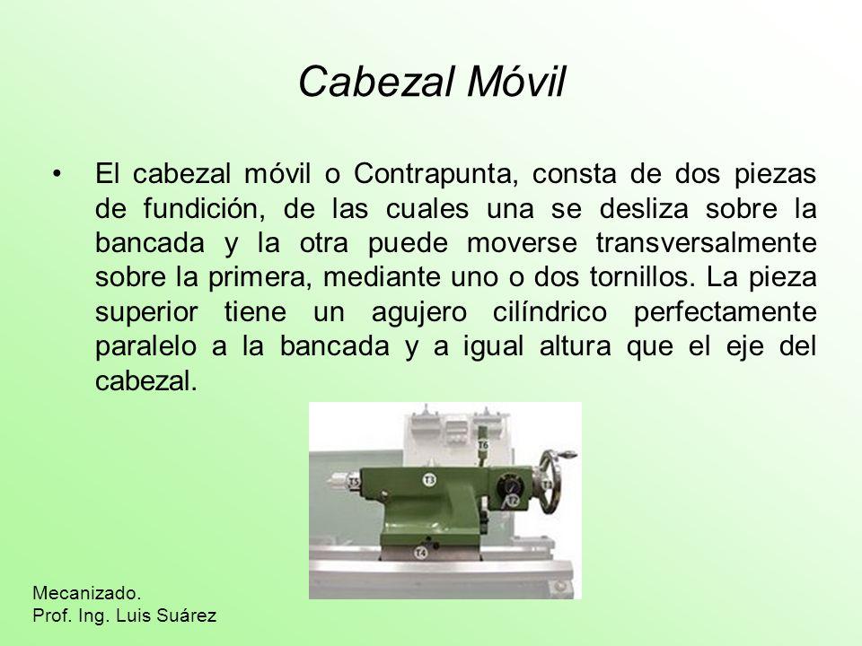 Cabezal Móvil El cabezal móvil o Contrapunta, consta de dos piezas de fundición, de las cuales una se desliza sobre la bancada y la otra puede moverse
