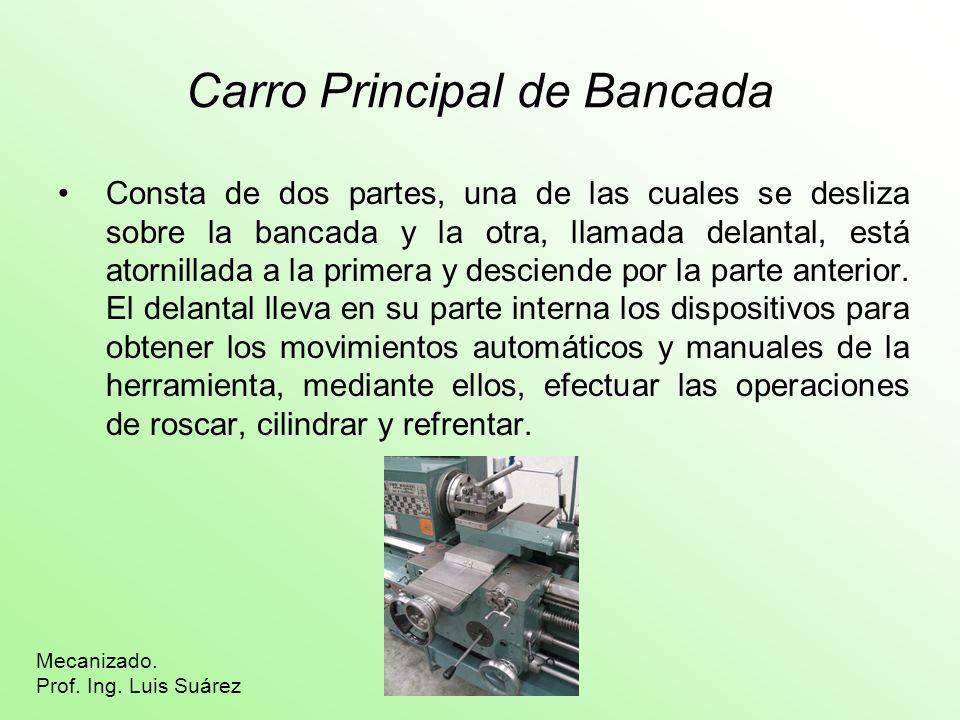 Carro Principal de Bancada Consta de dos partes, una de las cuales se desliza sobre la bancada y la otra, llamada delantal, está atornillada a la prim