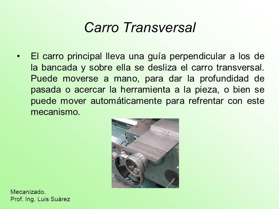Carro Transversal El carro principal lleva una guía perpendicular a los de la bancada y sobre ella se desliza el carro transversal. Puede moverse a ma