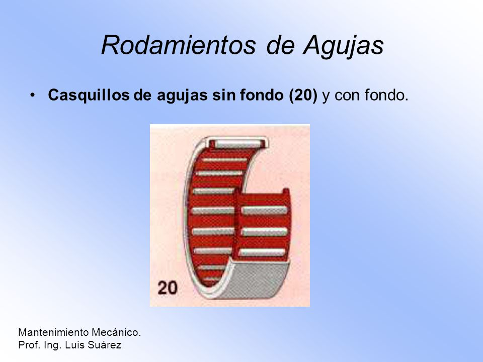Rodamientos de Agujas Casquillos de agujas sin fondo (20) y con fondo. Mantenimiento Mecánico. Prof. Ing. Luis Suárez