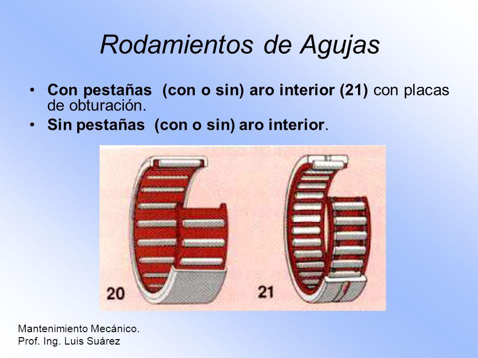 Rodamientos de Agujas Con pestañas (con o sin) aro interior (21) con placas de obturación. Sin pestañas (con o sin) aro interior. Mantenimiento Mecáni