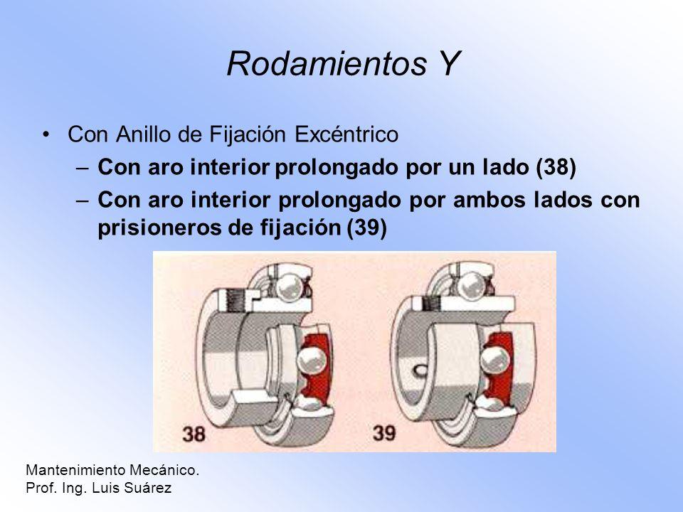 Rodamientos Y Con Anillo de Fijación Excéntrico –Con aro interior prolongado por un lado (38) –Con aro interior prolongado por ambos lados con prision