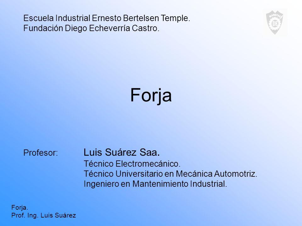 Forja Profesor: Luis Suárez Saa. Técnico Electromecánico. Técnico Universitario en Mecánica Automotriz. Ingeniero en Mantenimiento Industrial. Escuela