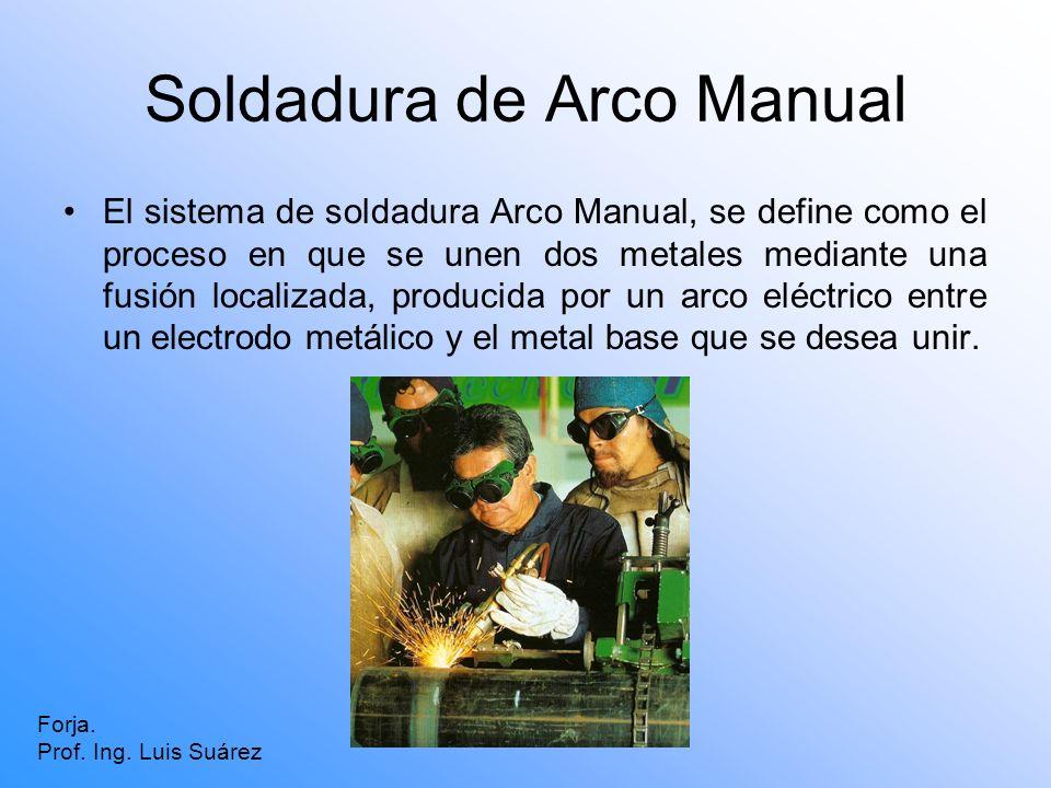 Soldadura de Arco Manual El sistema de soldadura Arco Manual, se define como el proceso en que se unen dos metales mediante una fusión localizada, pro