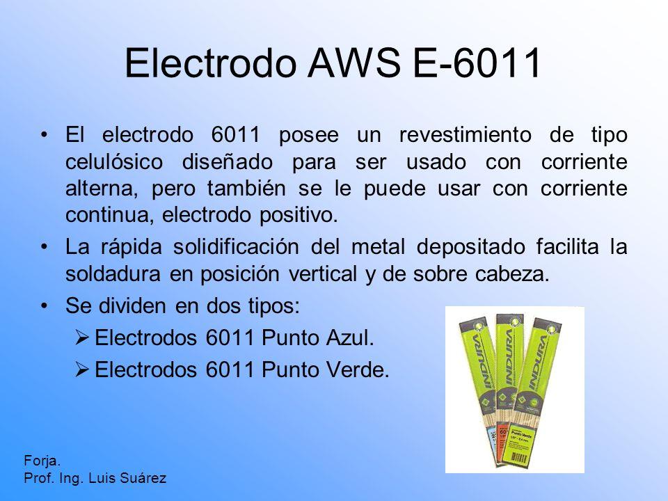 Electrodo AWS E-6011 El electrodo 6011 posee un revestimiento de tipo celulósico diseñado para ser usado con corriente alterna, pero también se le pue