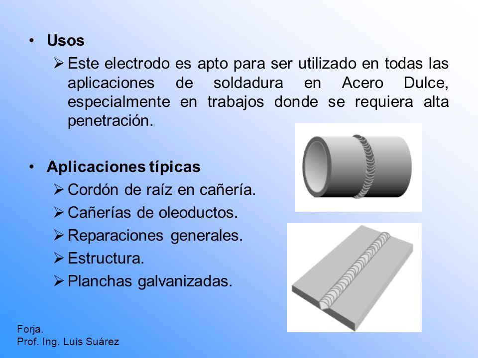 Usos Este electrodo es apto para ser utilizado en todas las aplicaciones de soldadura en Acero Dulce, especialmente en trabajos donde se requiera alta