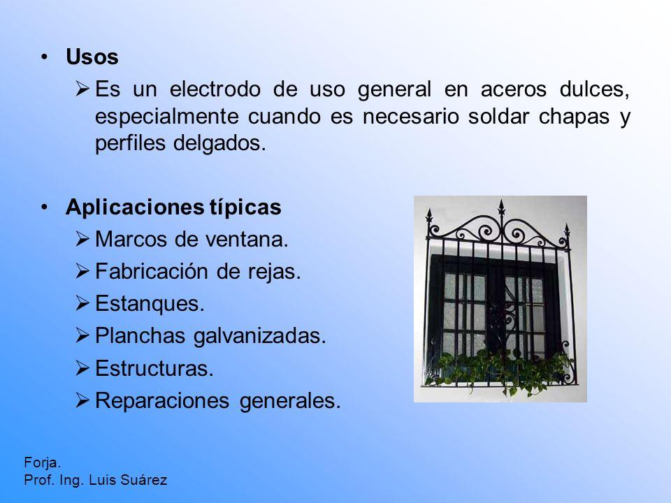 Usos Es un electrodo de uso general en aceros dulces, especialmente cuando es necesario soldar chapas y perfiles delgados. Aplicaciones típicas Marcos