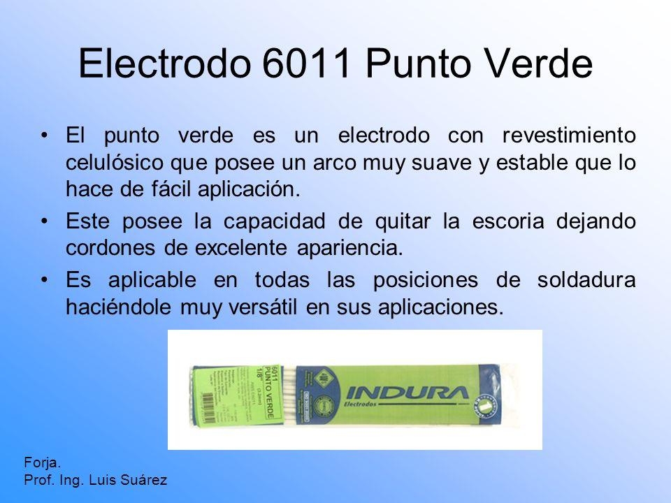 Electrodo 6011 Punto Verde El punto verde es un electrodo con revestimiento celulósico que posee un arco muy suave y estable que lo hace de fácil apli