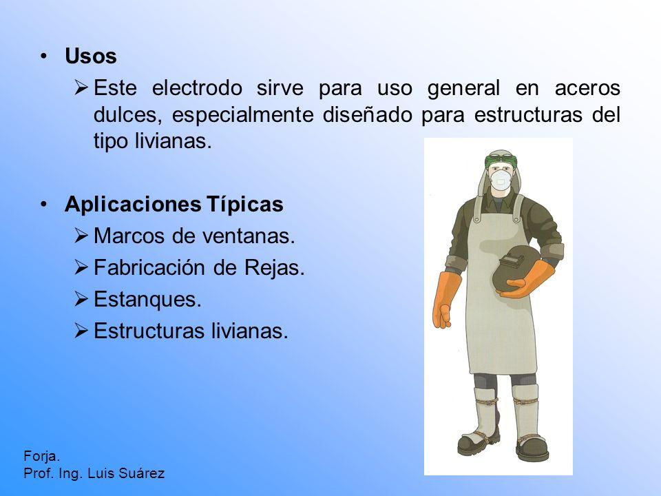 Usos Este electrodo sirve para uso general en aceros dulces, especialmente diseñado para estructuras del tipo livianas. Aplicaciones Típicas Marcos de