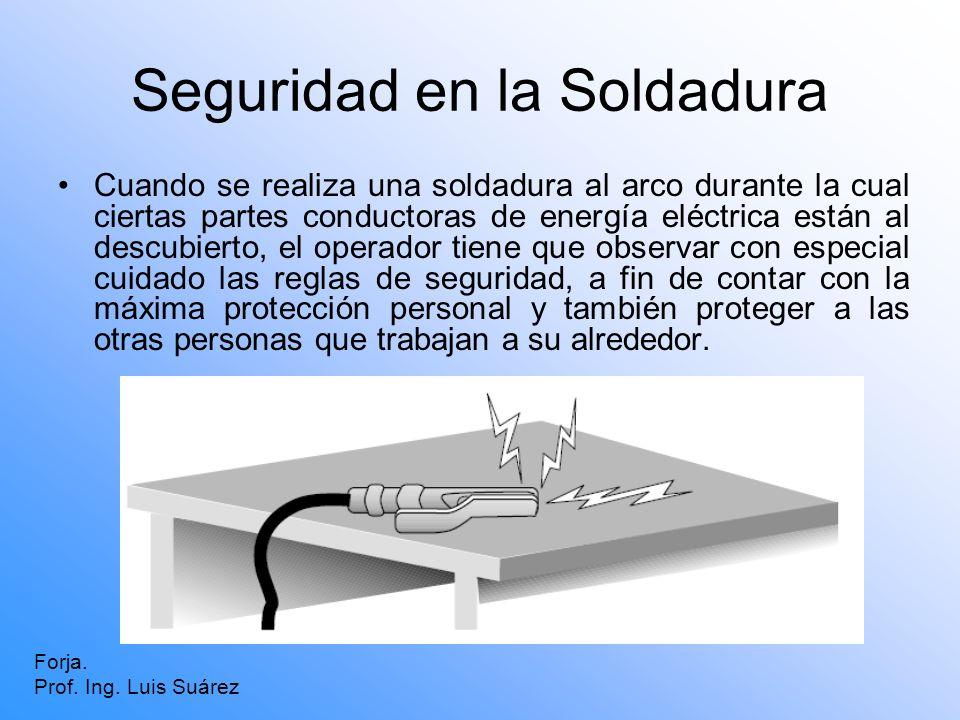 Seguridad en la Soldadura Cuando se realiza una soldadura al arco durante la cual ciertas partes conductoras de energía eléctrica están al descubierto
