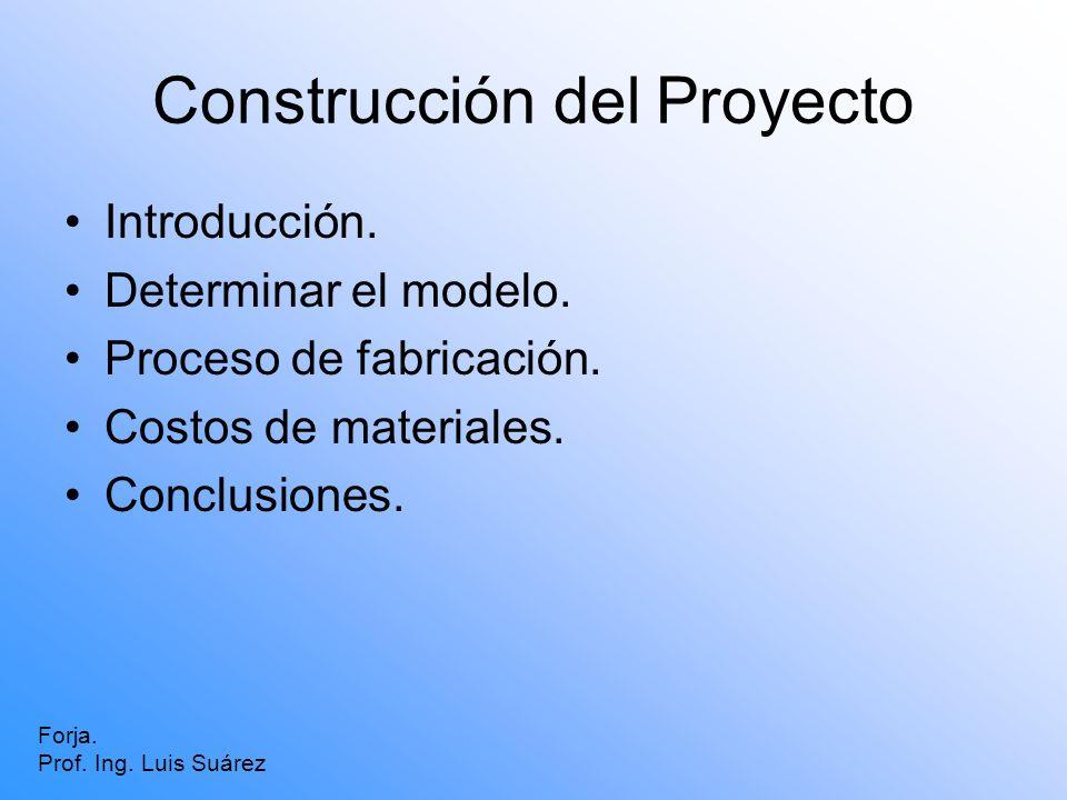 Construcción del Proyecto Introducción. Determinar el modelo. Proceso de fabricación. Costos de materiales. Conclusiones. Forja. Prof. Ing. Luis Suáre