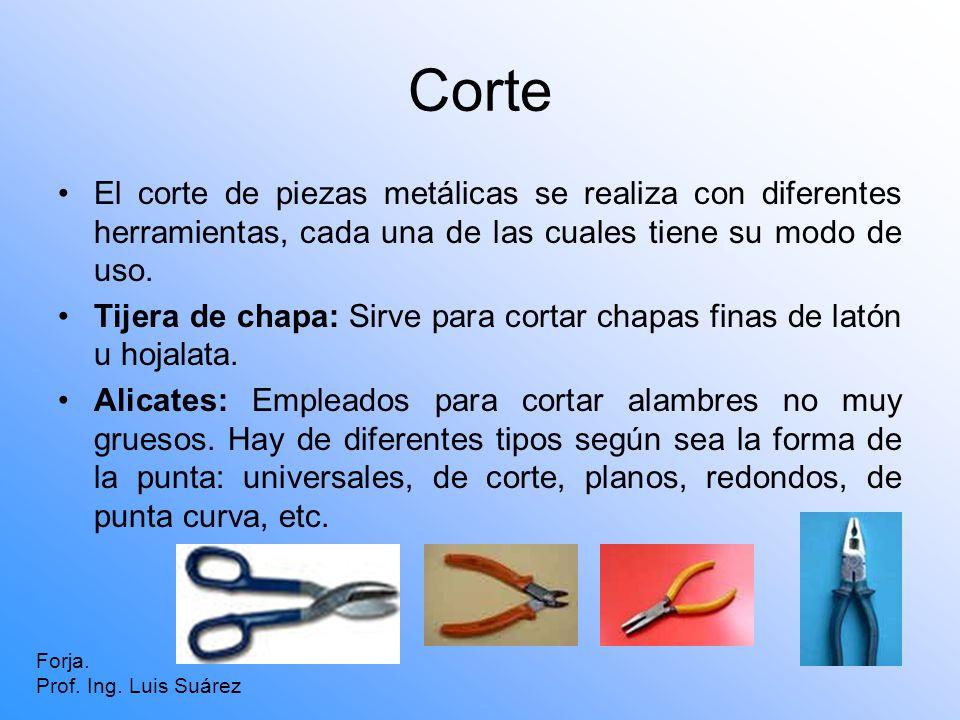 Corte El corte de piezas metálicas se realiza con diferentes herramientas, cada una de las cuales tiene su modo de uso. Tijera de chapa: Sirve para co