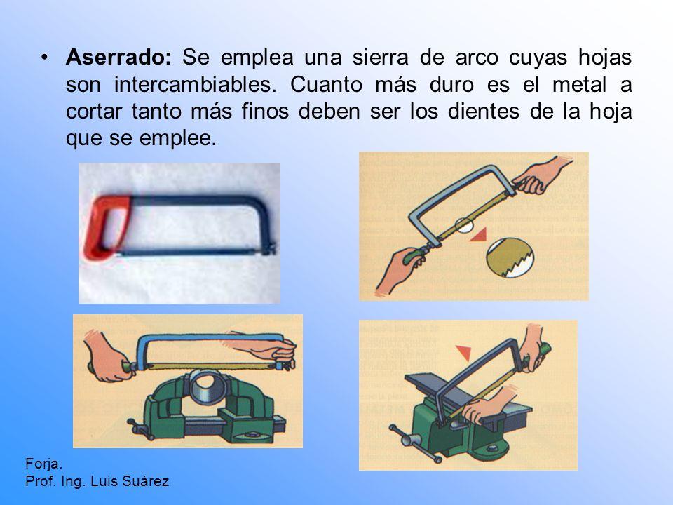 Aserrado: Se emplea una sierra de arco cuyas hojas son intercambiables. Cuanto más duro es el metal a cortar tanto más finos deben ser los dientes de