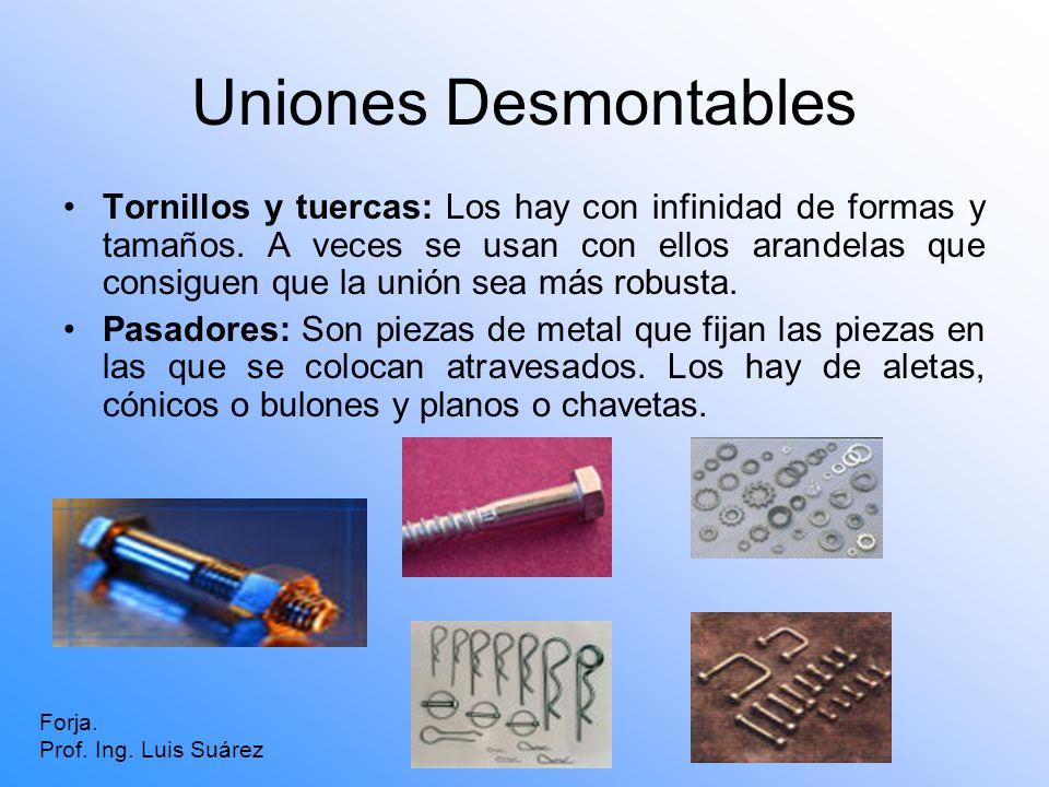 Uniones Desmontables Tornillos y tuercas: Los hay con infinidad de formas y tamaños. A veces se usan con ellos arandelas que consiguen que la unión se