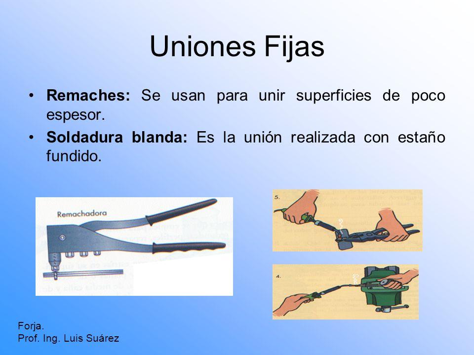 Uniones Fijas Remaches: Se usan para unir superficies de poco espesor. Soldadura blanda: Es la unión realizada con estaño fundido. Forja. Prof. Ing. L