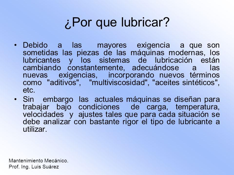 ¿Por que lubricar? Debido a las mayores exigencia a que son sometidas las piezas de las máquinas modernas, los lubricantes y los sistemas de lubricaci