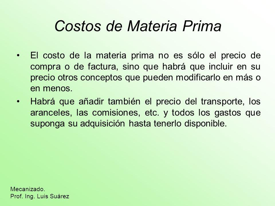 Costos de Materia Prima El costo de la materia prima no es sólo el precio de compra o de factura, sino que habrá que incluir en su precio otros conceptos que pueden modificarlo en más o en menos.
