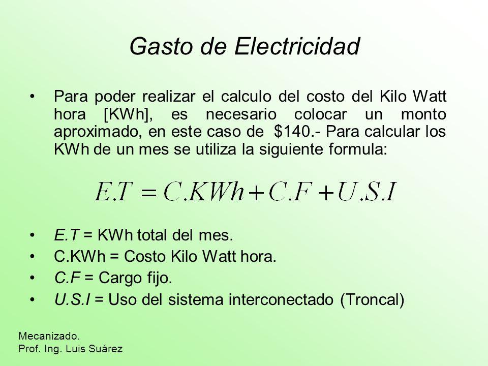 Gasto de Electricidad Para poder realizar el calculo del costo del Kilo Watt hora [KWh], es necesario colocar un monto aproximado, en este caso de $140.- Para calcular los KWh de un mes se utiliza la siguiente formula: E.T = KWh total del mes.