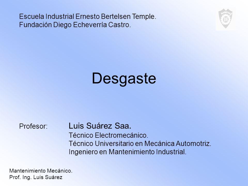Desgaste Profesor: Luis Suárez Saa. Técnico Electromecánico. Técnico Universitario en Mecánica Automotriz. Ingeniero en Mantenimiento Industrial. Escu