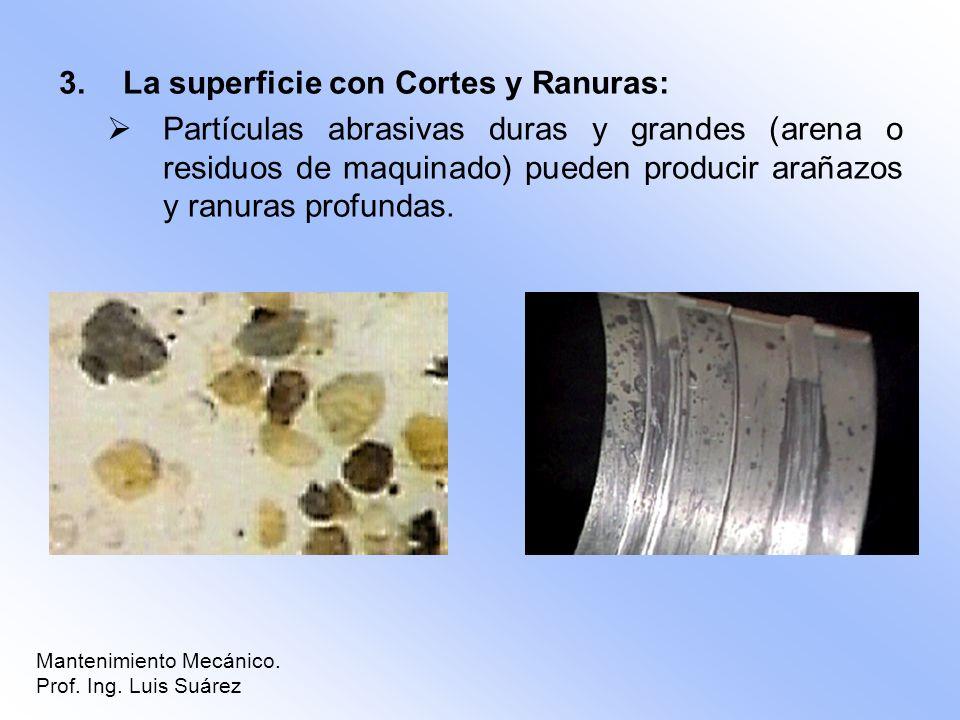 3.La superficie con Cortes y Ranuras: Partículas abrasivas duras y grandes (arena o residuos de maquinado) pueden producir arañazos y ranuras profunda