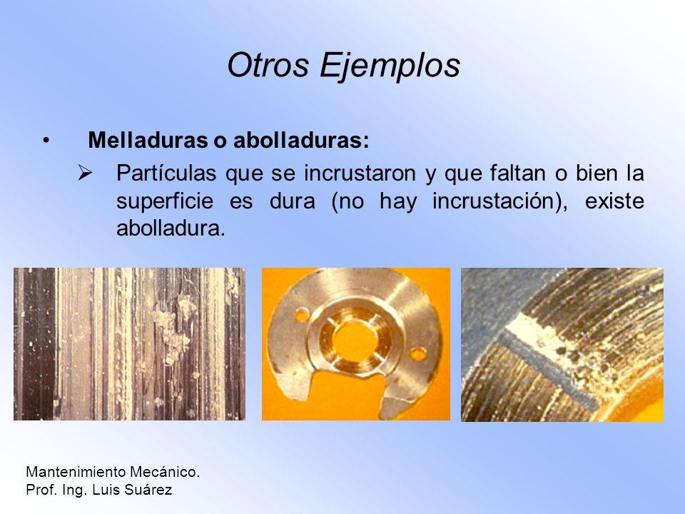 Otros Ejemplos Melladuras o abolladuras: Partículas que se incrustaron y que faltan o bien la superficie es dura (no hay incrustación), existe abollad