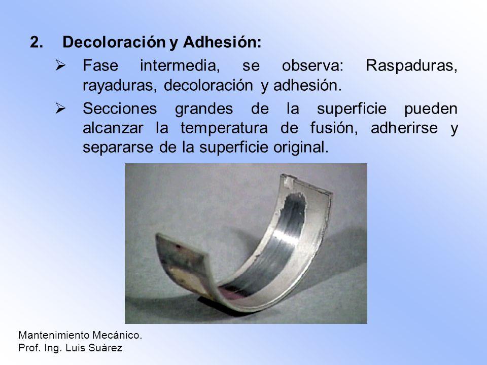 2.Decoloración y Adhesión: Fase intermedia, se observa: Raspaduras, rayaduras, decoloración y adhesión. Secciones grandes de la superficie pueden alca