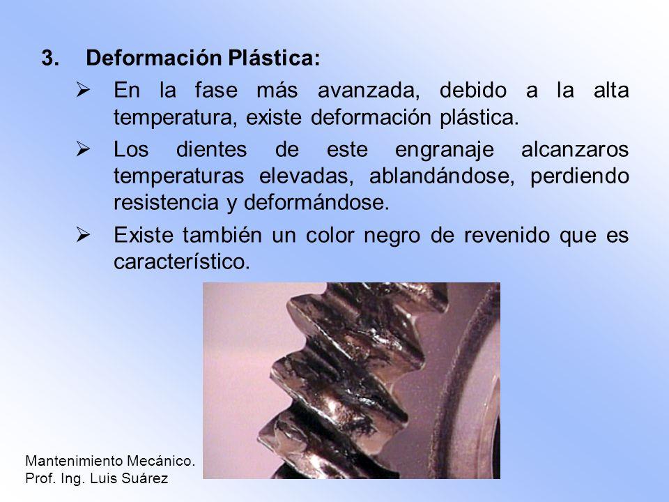 3.Deformación Plástica: En la fase más avanzada, debido a la alta temperatura, existe deformación plástica. Los dientes de este engranaje alcanzaros t