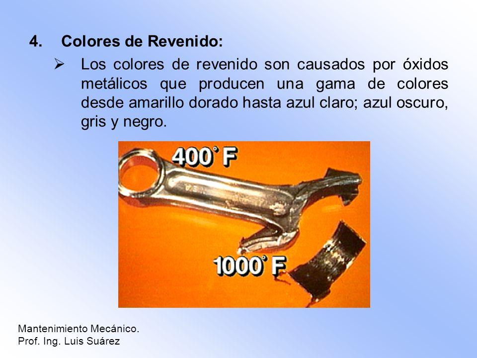 4.Colores de Revenido: Los colores de revenido son causados por óxidos metálicos que producen una gama de colores desde amarillo dorado hasta azul cla
