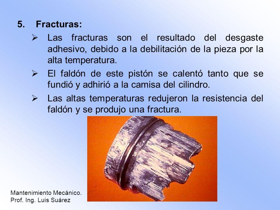 5.Fracturas: Las fracturas son el resultado del desgaste adhesivo, debido a la debilitación de la pieza por la alta temperatura. El faldón de este pis