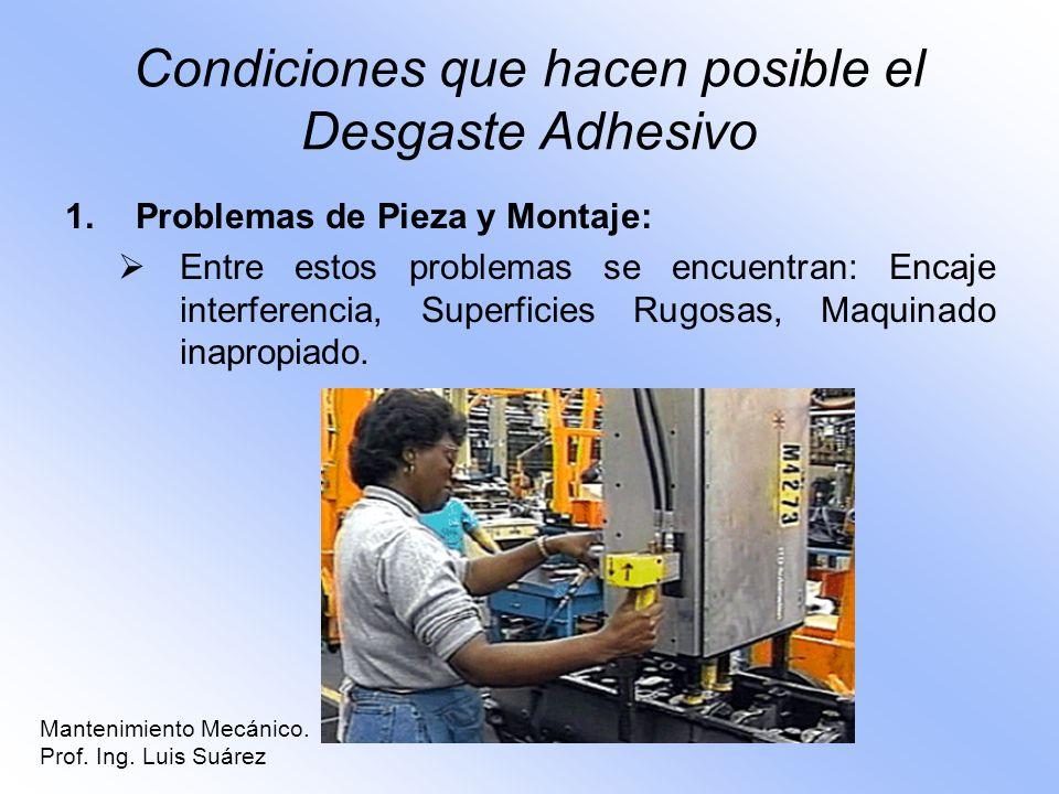 Condiciones que hacen posible el Desgaste Adhesivo 1.Problemas de Pieza y Montaje: Entre estos problemas se encuentran: Encaje interferencia, Superfic