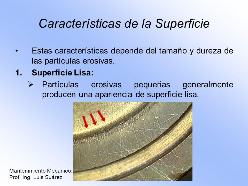 Características de la Superficie Estas características depende del tamaño y dureza de las partículas erosivas. 1.Superficie Lisa: Partículas erosivas