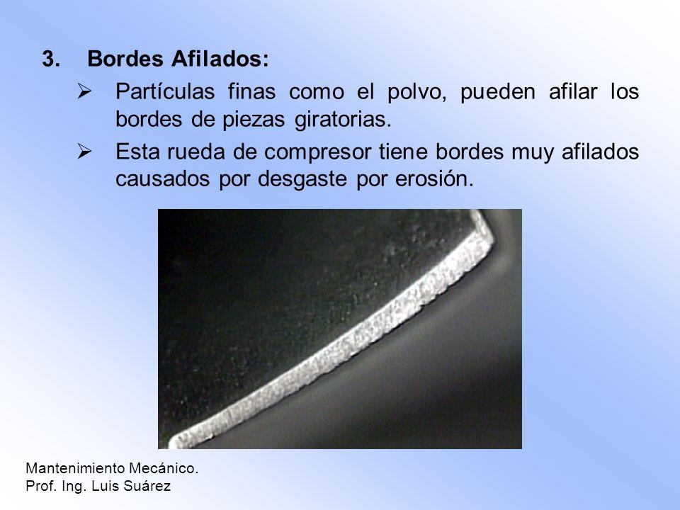 3.Bordes Afilados: Partículas finas como el polvo, pueden afilar los bordes de piezas giratorias. Esta rueda de compresor tiene bordes muy afilados ca
