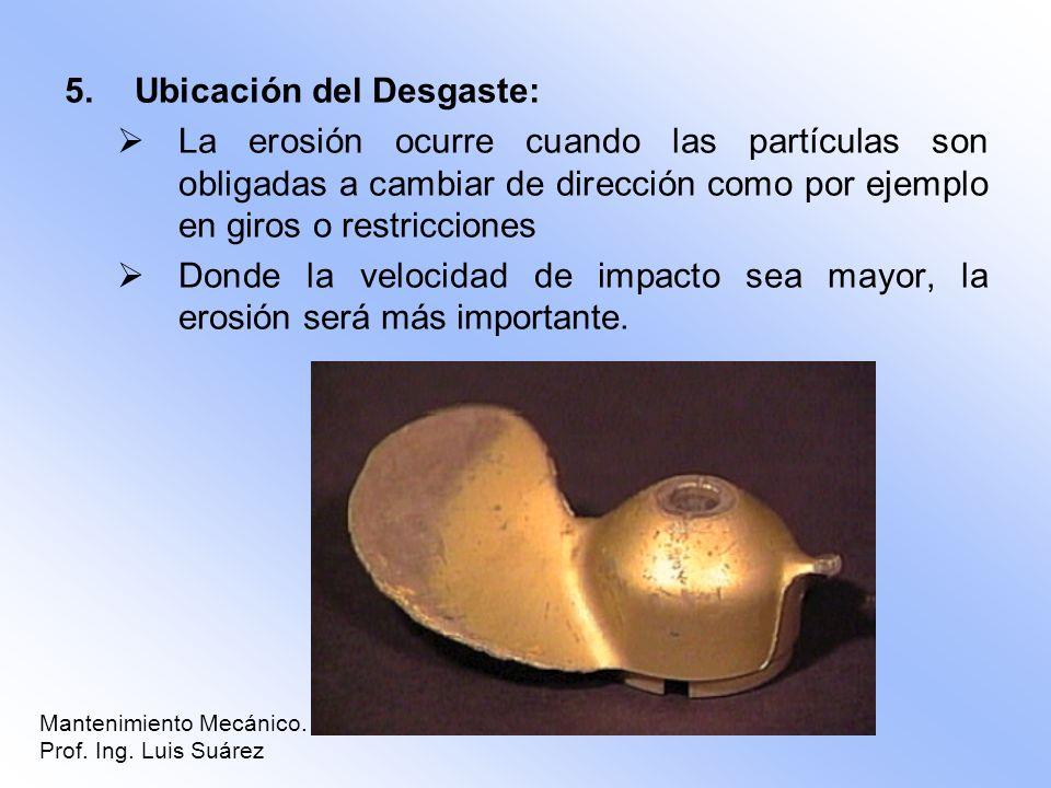 5.Ubicación del Desgaste: La erosión ocurre cuando las partículas son obligadas a cambiar de dirección como por ejemplo en giros o restricciones Donde